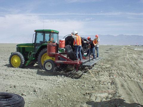 Injecting Subsurface Drip Tube, Owens Lake, California